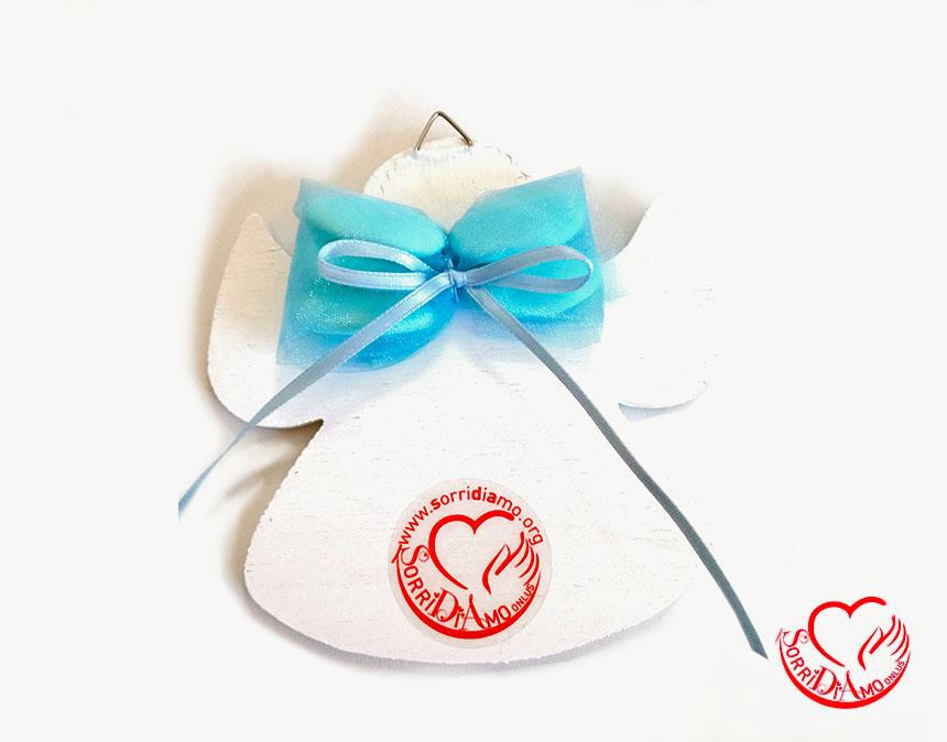 Bomboniera angioletto porta fortuna azzurro retro