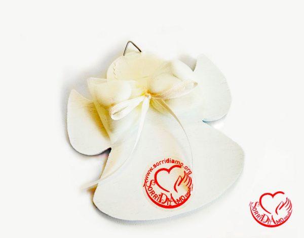 Bomboniera angioletto porta fortuna bianco retro