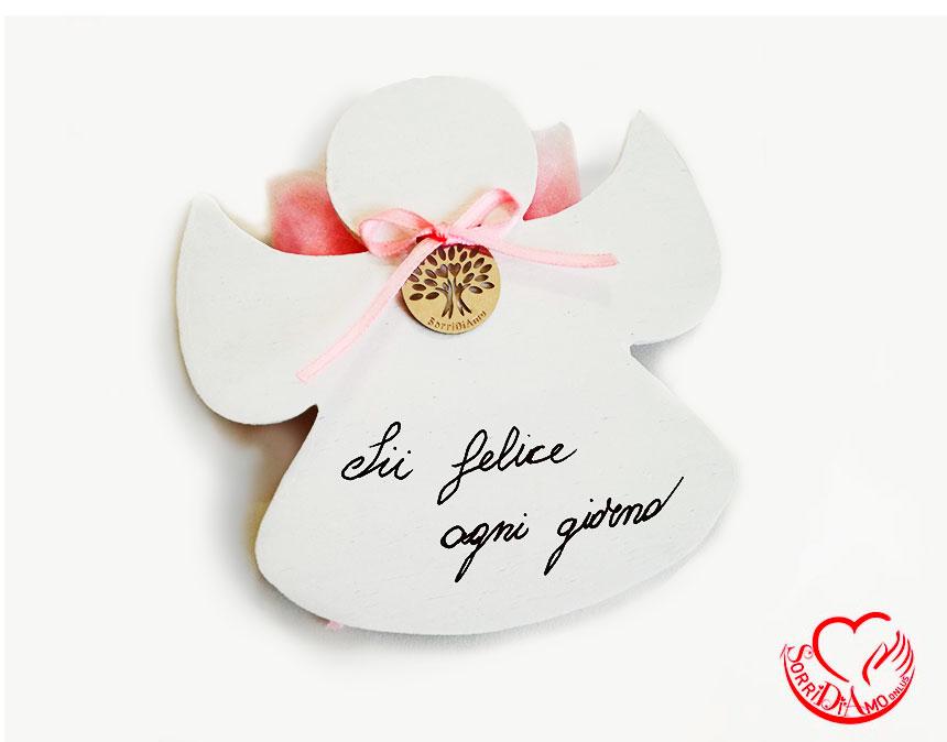Bomboniera angioletto porta fortuna rosa