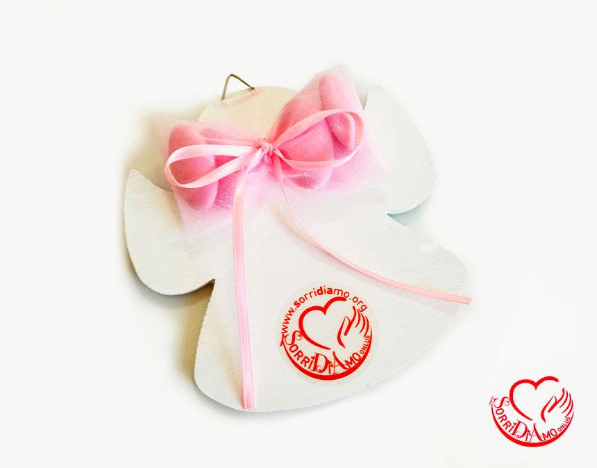 Bomboniera angioletto porta fortuna rosa retro