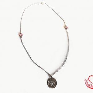 Collana lunga 80cm con pietre colorate - rose