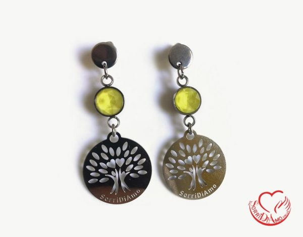 Orecchini albero della vita e pietra jaune