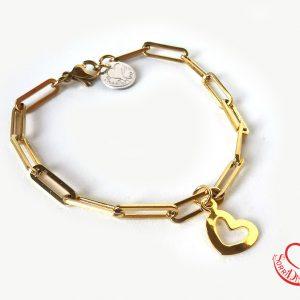 Bracciale oro - cuore bucato