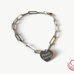 Bracciale silver maglia quadrata con cuore silver