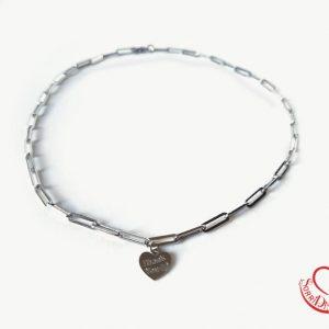 Girocollo silver maglia quadrata con cuore silver thankyou