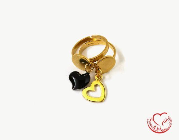 Anello doppio oro cuore nero e forato