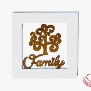 Quadro in legno bianco albero della vita e scritta Family
